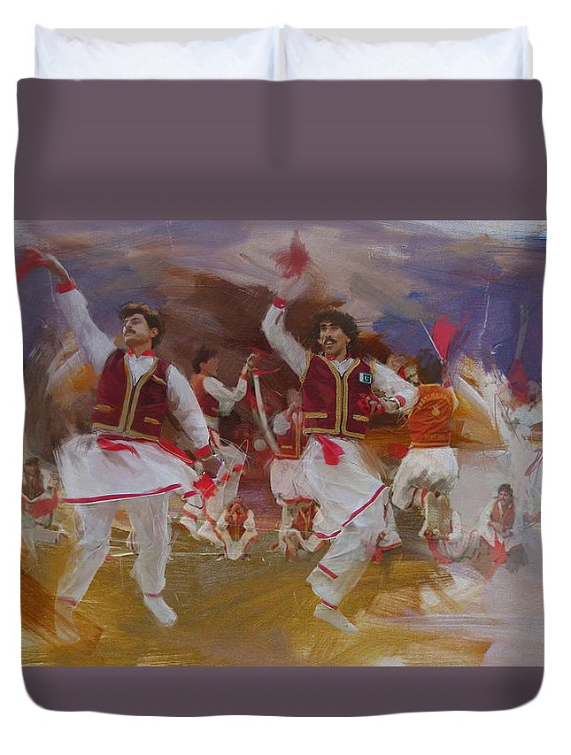 Attan Dance Duvet Cover featuring the painting 004 Pakhtun by Maryam Mughal