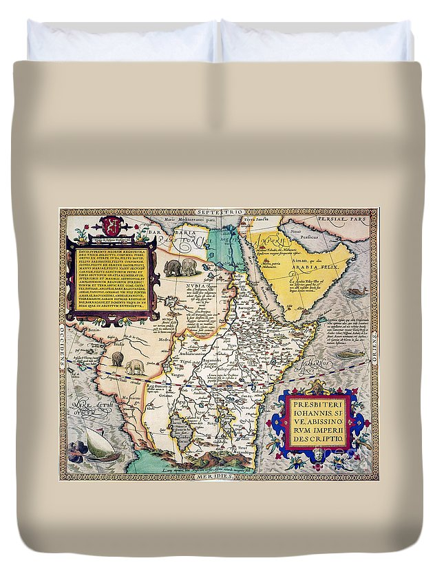 1595 Duvet Cover featuring the painting African Map, 1595 by Granger