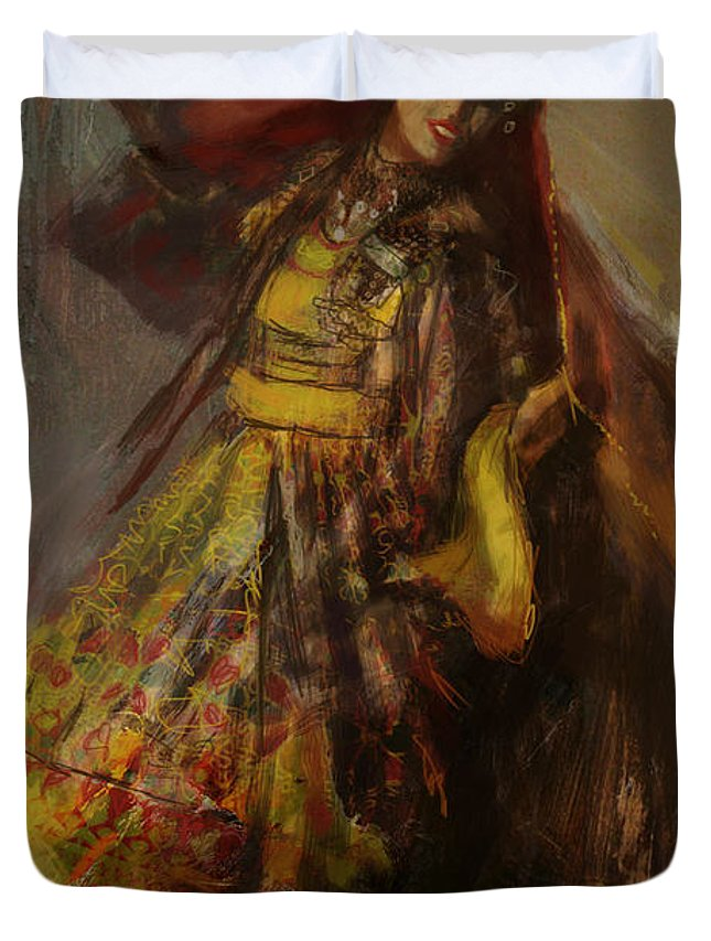 Attan Dance Duvet Cover featuring the painting 008 Pakhtun B by Mahnoor Shah