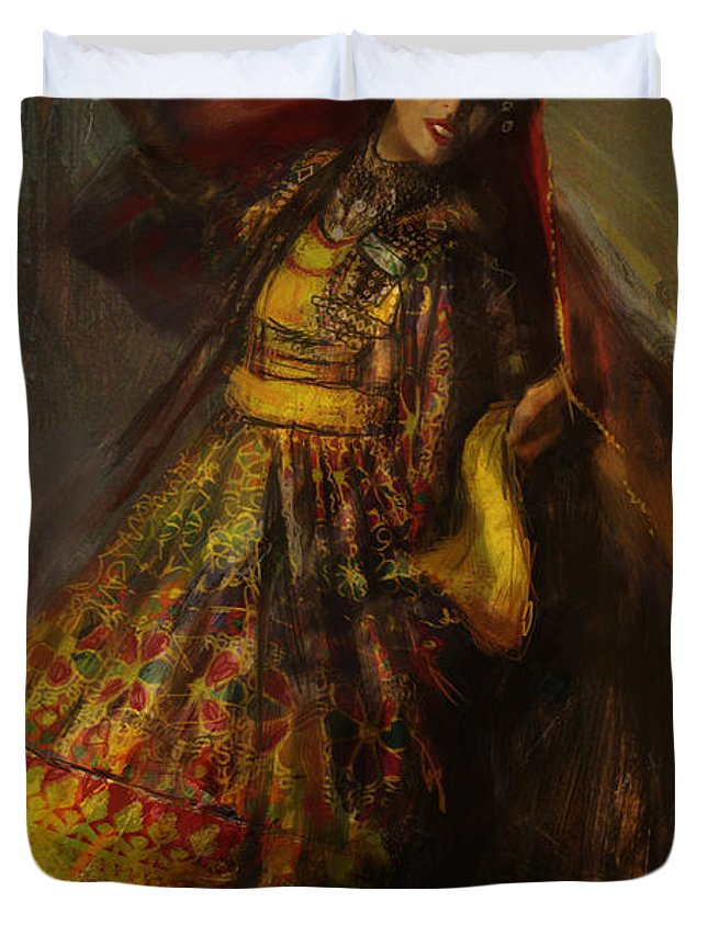 Attan Dance Duvet Cover featuring the painting 008 Pakhtun by Mahnoor Shah