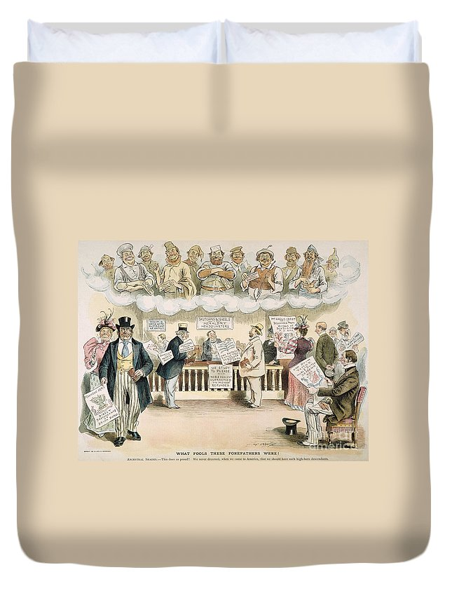1894 Duvet Cover featuring the painting Foolish Forefathers, 1894 by Granger