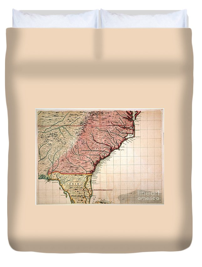 1733 Duvet Cover featuring the painting Colonial America Map, 1733 by Granger