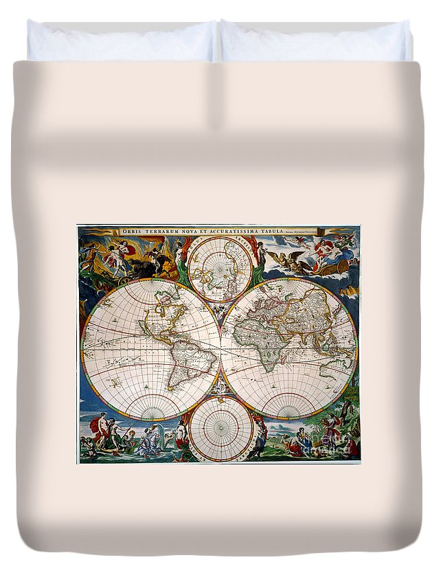 Aod Duvet Cover featuring the painting World Map, 17th Century by Granger