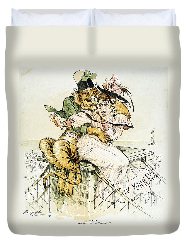 1893 Duvet Cover featuring the painting Political Cartoon by Granger