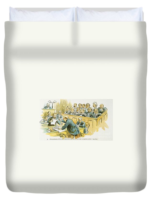 1896 Duvet Cover featuring the painting Litigation Cartoon by Granger