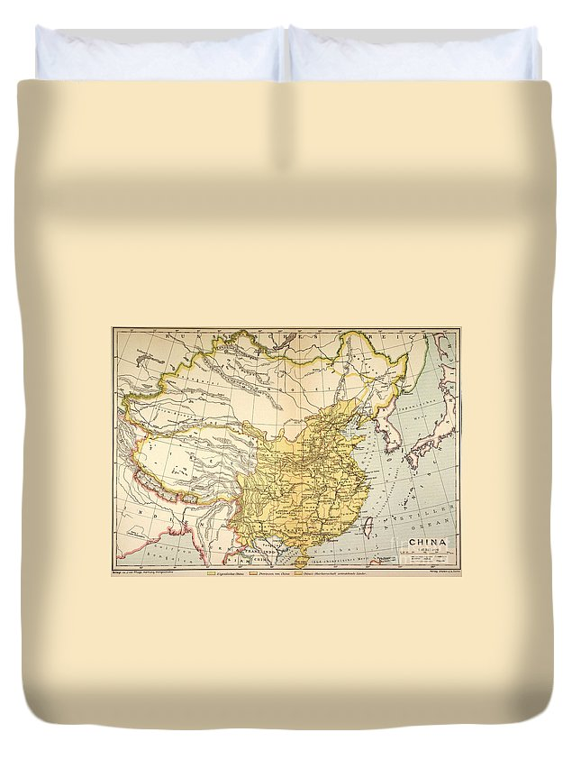 1910 Duvet Cover featuring the painting Map: China, 1910 by Granger