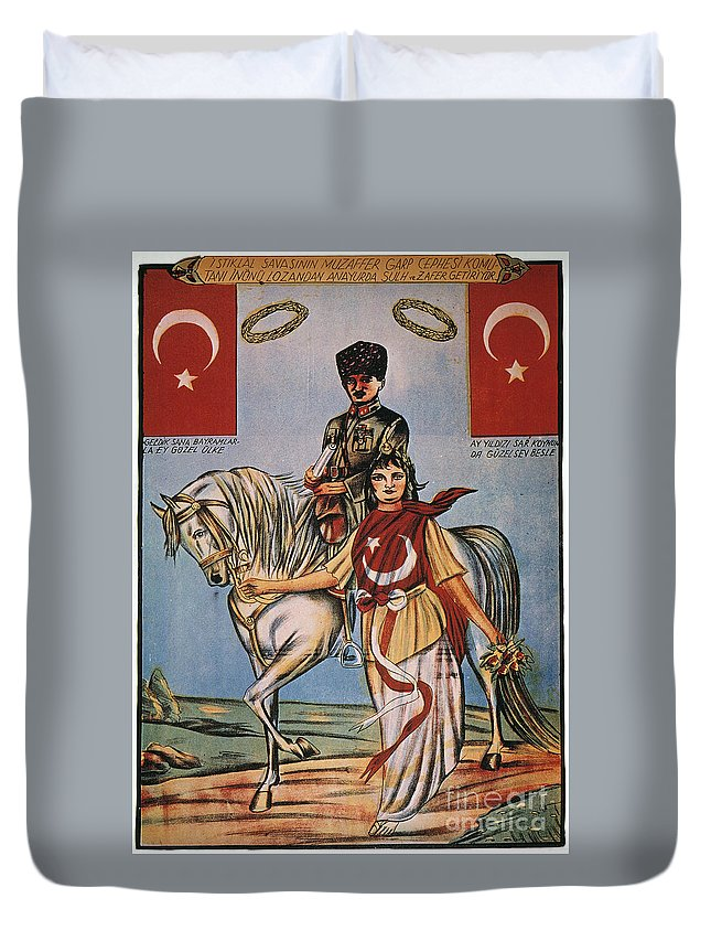 1920s Duvet Cover featuring the painting Republic Of Turkey: Poster by Granger