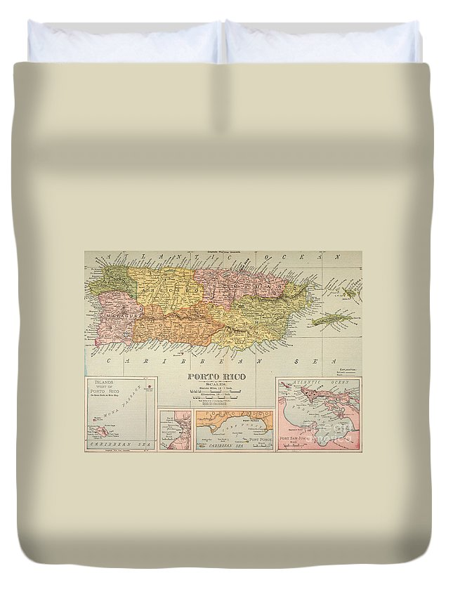 1900 Duvet Cover featuring the painting Map: Puerto Rico, 1900 by Granger