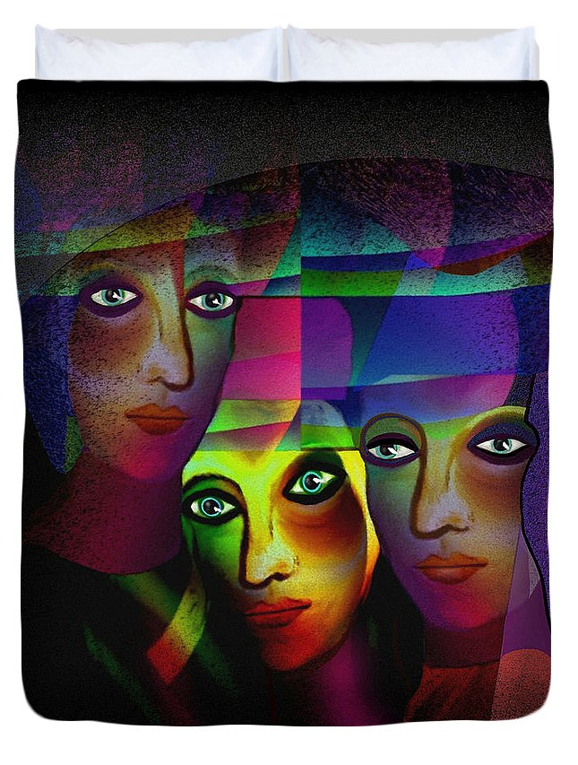 008  Sisters In Pride A Duvet Cover featuring the painting 008  Sisters In Pride A by Irmgard Schoendorf Welch