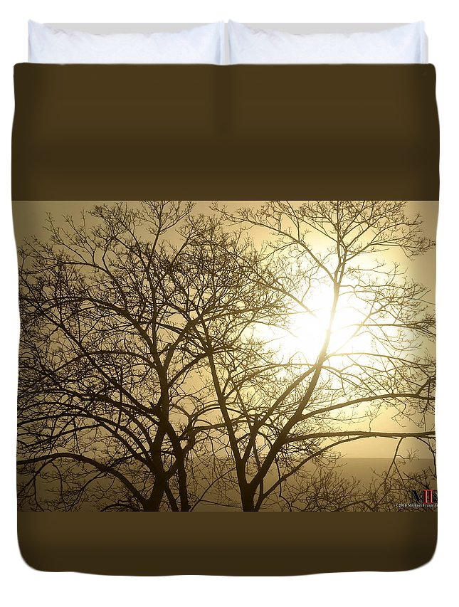Buffalo Duvet Cover featuring the photograph 01 Foggy Sunday Sunrise by Michael Frank Jr