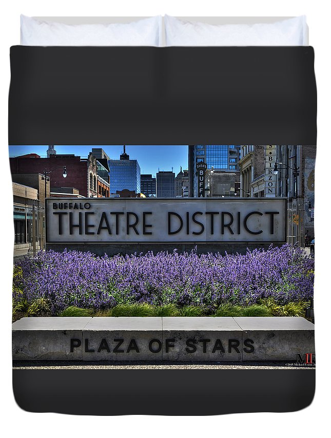 Buffalo Duvet Cover featuring the photograph 01 Plaza Of Stars Buffalo Theatre District by Michael Frank Jr