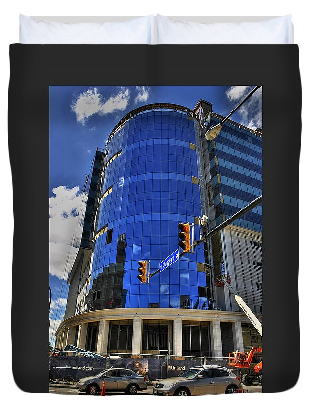 Buffalo Duvet Cover featuring the photograph 01 W. Chipp And Delaware Construction by Michael Frank Jr