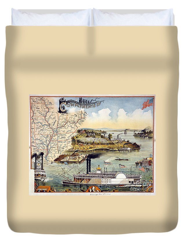 1895 Duvet Cover featuring the painting Mississippi Steamboat by Granger