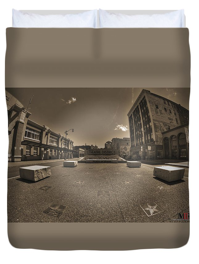 Buffalo Duvet Cover featuring the photograph 02 Plaza Of Stars Sepia Tone by Michael Frank Jr