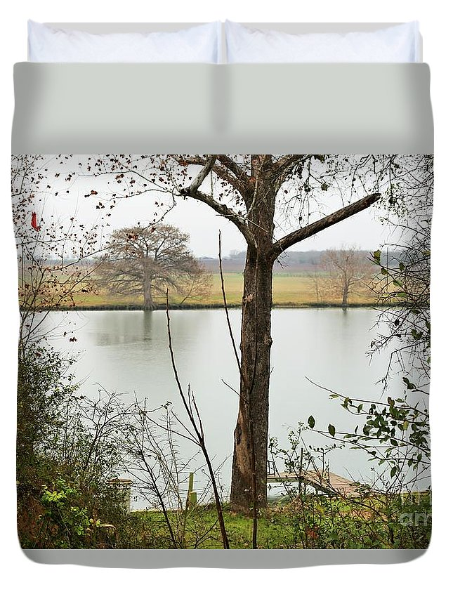 Trees.lake Duvet Cover featuring the photograph 0216 by Jeff Downs