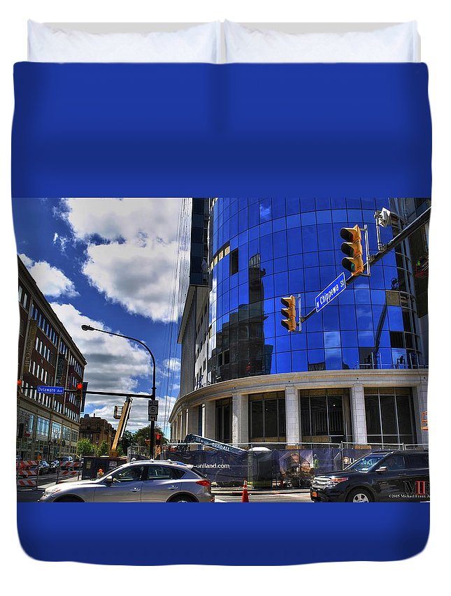 Buffalo Duvet Cover featuring the photograph 03 W Chipp And Delaware Construction by Michael Frank Jr