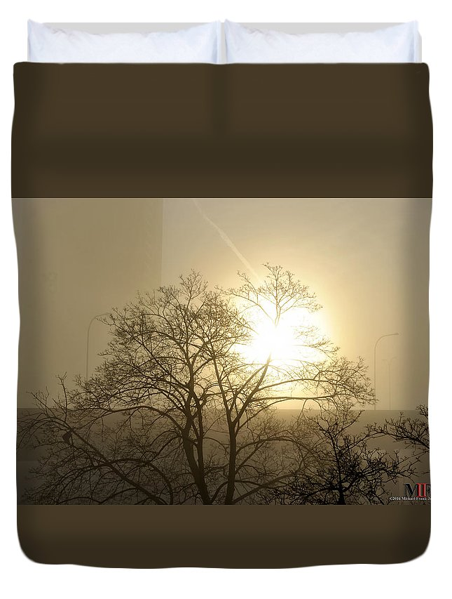 Buffalo Duvet Cover featuring the photograph 04 Foggy Sunday Sunrise by Michael Frank Jr