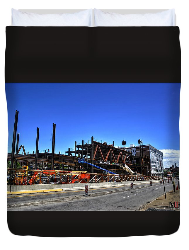 Buffalo Duvet Cover featuring the photograph 04 Medical Building Construction On Main Street by Michael Frank Jr