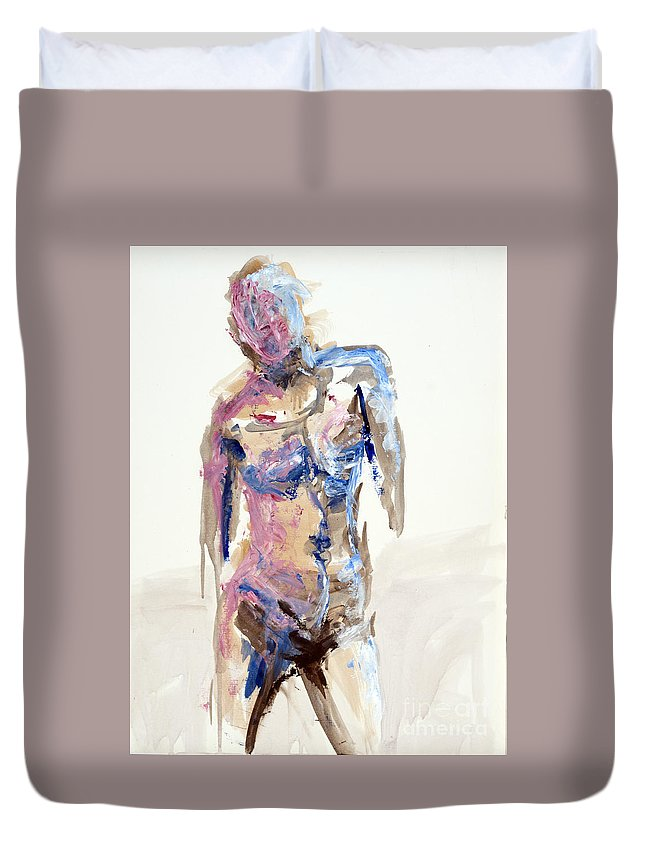 Duvet Cover featuring the painting 04913 Arriving Home by AnneKarin Glass