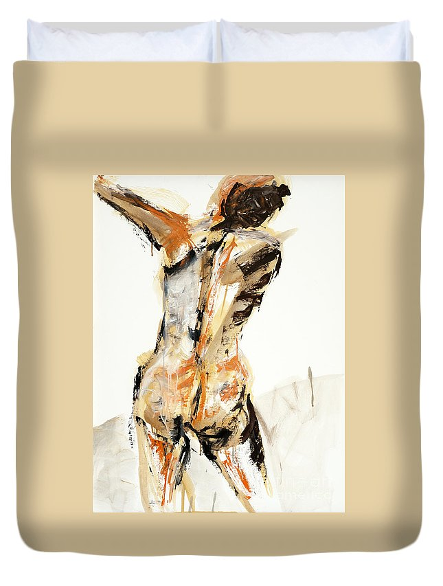 Duvet Cover featuring the painting 04935 Swinger by AnneKarin Glass