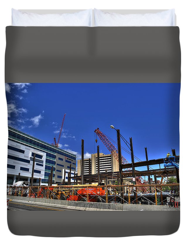 Buffalo Duvet Cover featuring the photograph 05 Medical Building Construction On Main Street by Michael Frank Jr