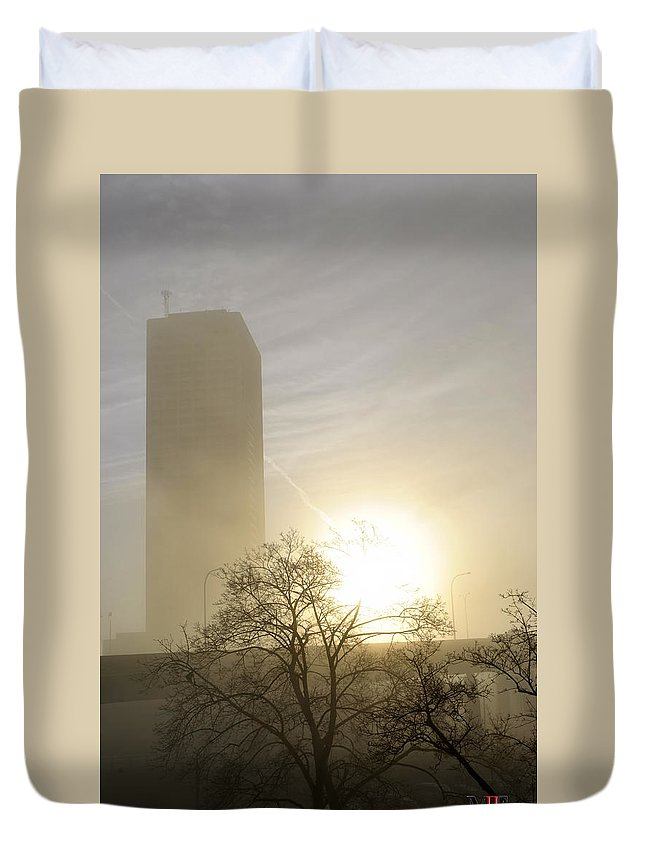 Buffalo Duvet Cover featuring the photograph 06 Foggy Sunday Sunrise by Michael Frank Jr