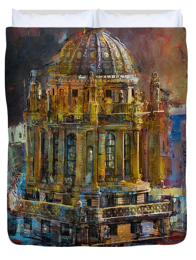 Chicago Duvet Cover featuring the painting 071 Famous Building Top In Chicago Illinois by Maryam Mughal