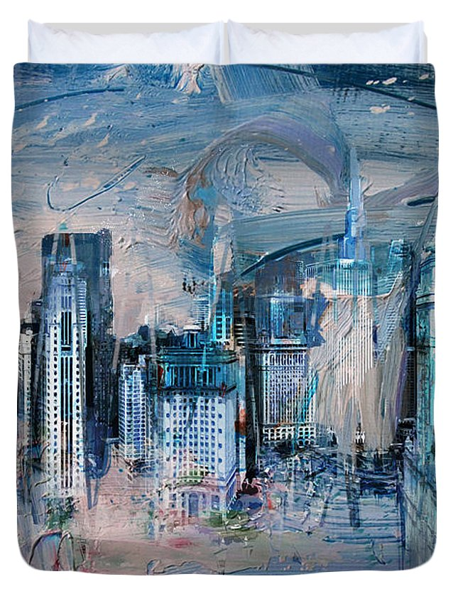 Wrigley Buildings Duvet Cover featuring the painting 072 Wrigley Buildings In Chicago. by Maryam Mughal