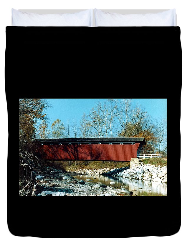 Bridge Duvet Cover featuring the photograph 072106-31 by Mike Davis