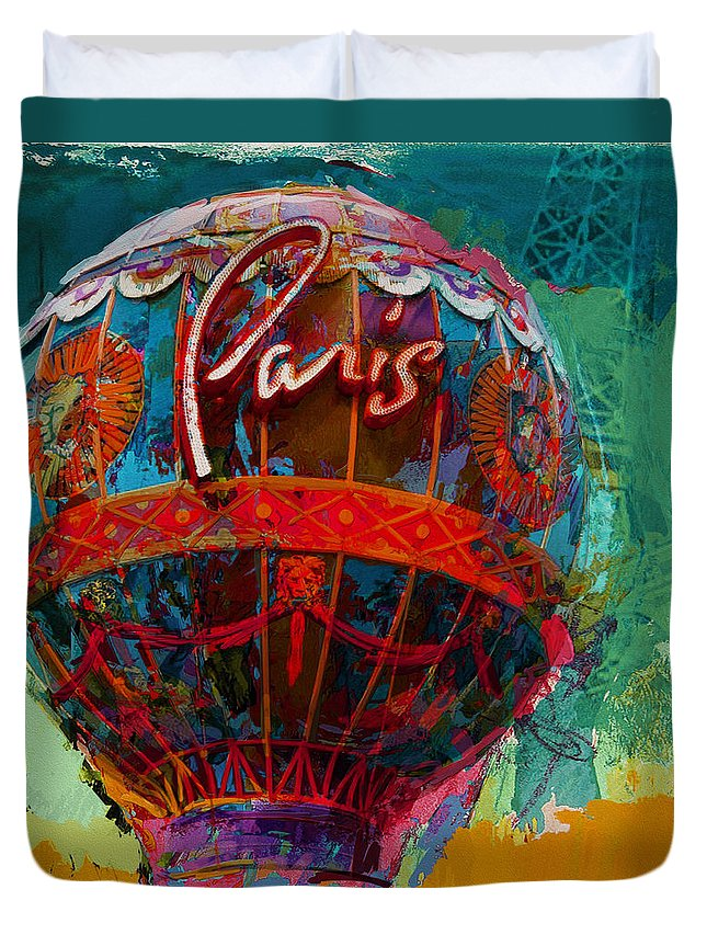 The Iconic Paris Casino Balloon Duvet Cover featuring the painting 075 The Iconic Paris Casino Balloon by Maryam Mughal