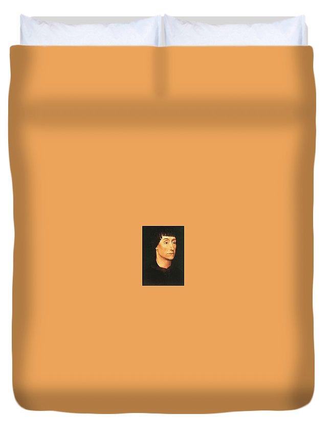 Crown Duvet Cover featuring the digital art 07505 Rogier Van Der Weyden by Eloisa Mannion