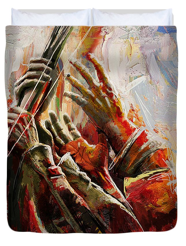 Marines Memorial Hands Duvet Cover featuring the painting 087 Marines Memorial Hands by Mahnoor Shah