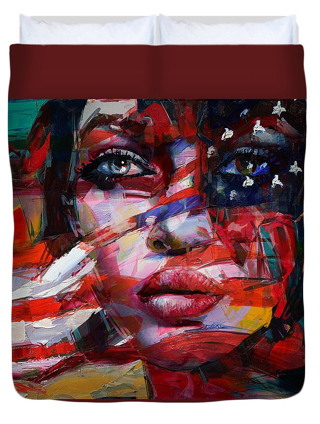 American Flag Duvet Cover featuring the painting 089 Flag And Eyes by Mahnoor Shah