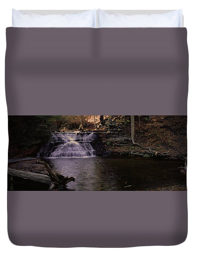 Waterfall Duvet Cover featuring the photograph 092108-1 by Mike Davis