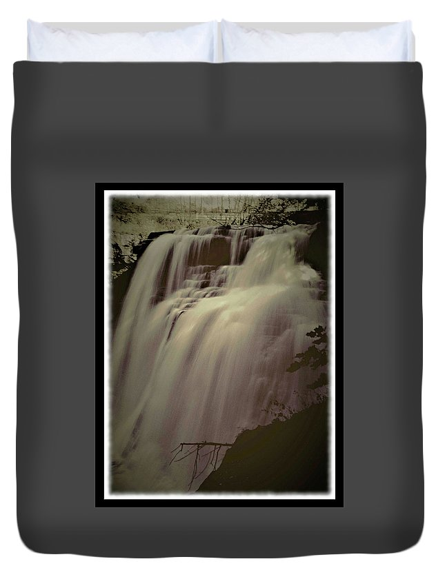 Falls Duvet Cover featuring the photograph 092408-1-op by Mike Davis
