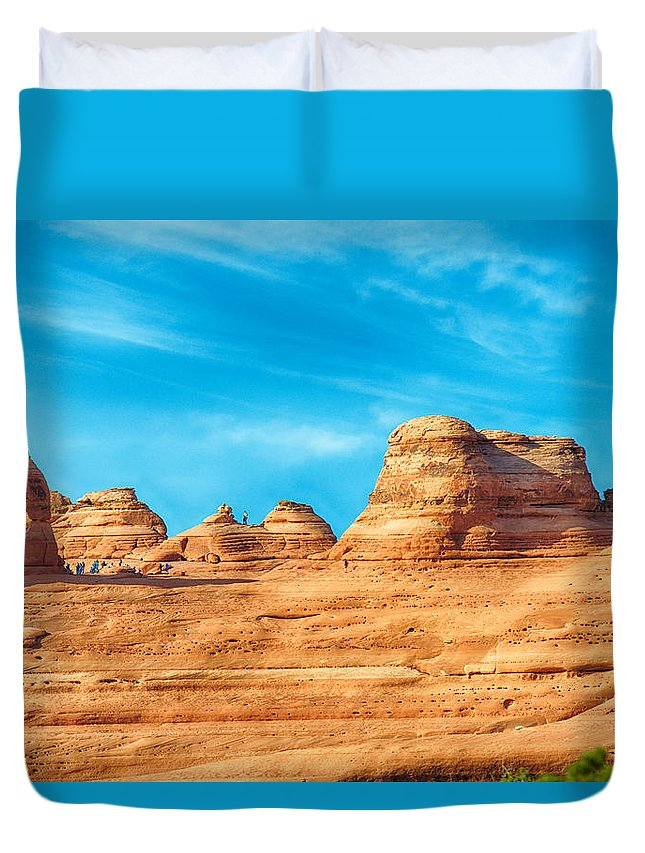 Arches Duvet Cover featuring the photograph Famous Delicate Arch In Arches National Park by Alex Grichenko