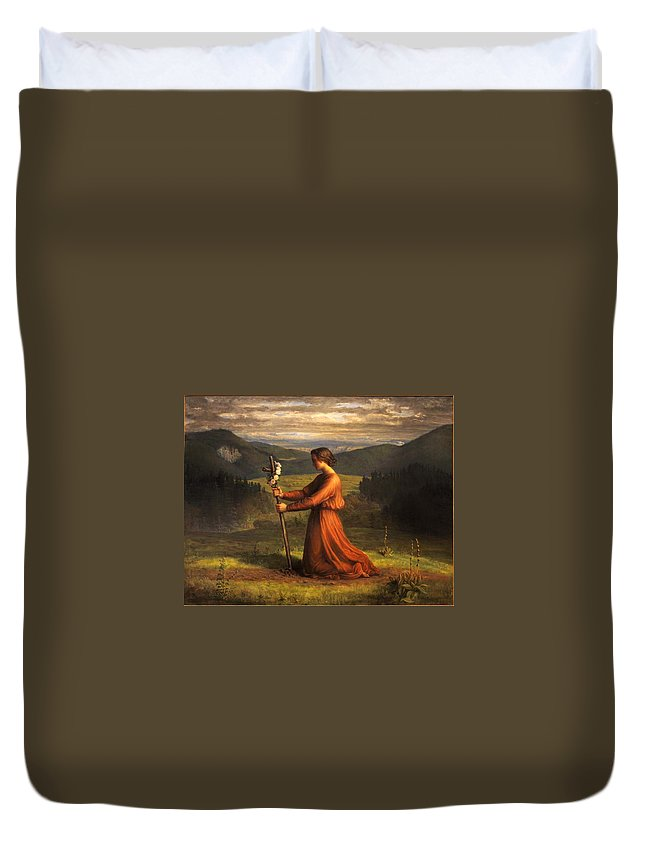 Louis Janmot - Poem Of The Soul 18 - Reality Duvet Cover featuring the painting Poem Of The Soul by MotionAge Designs