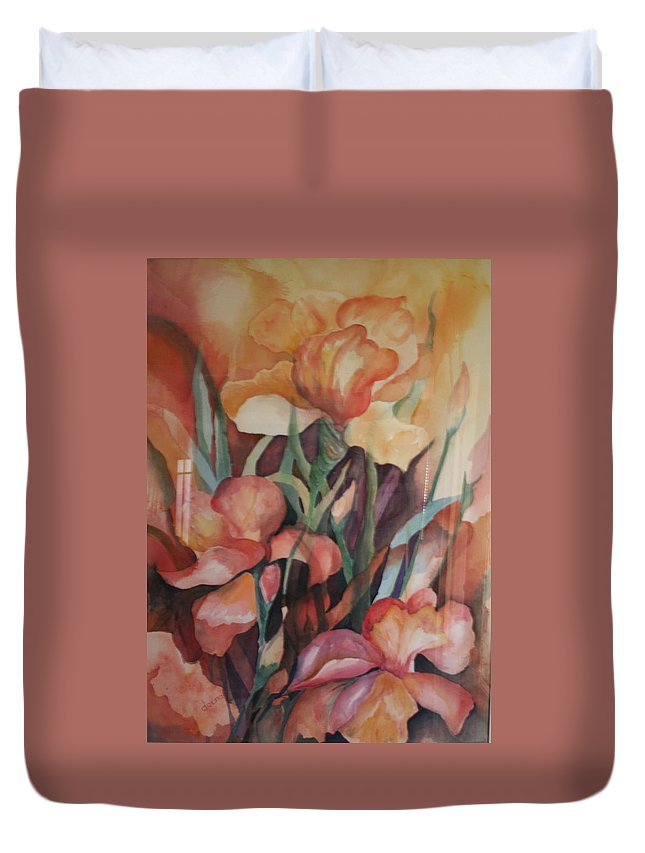 Flowers Duvet Cover featuring the painting Rainbow by Donna Steward