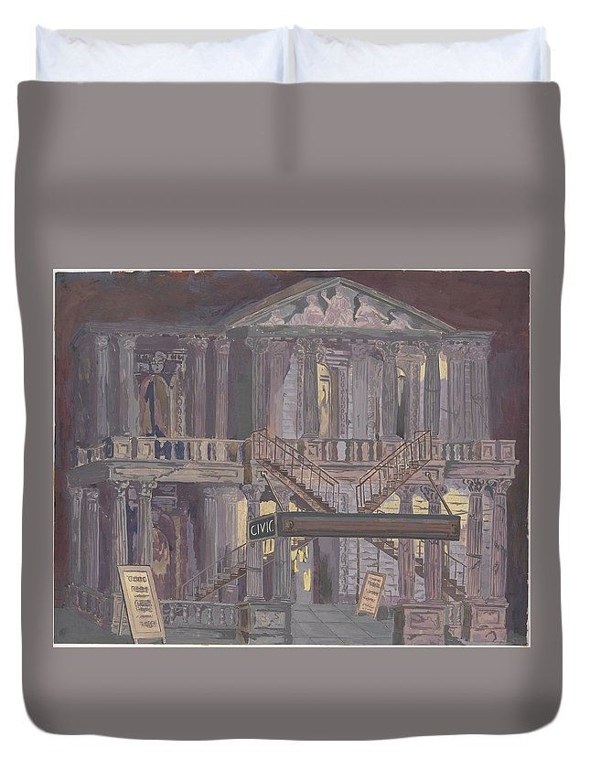 Perkins Harnly 14th Street Theatre Duvet Cover featuring the painting 14th Street Theatre by Perkins Harnly