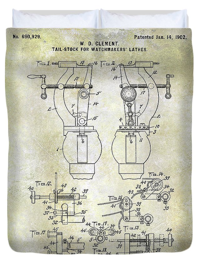 Watch Duvet Cover featuring the photograph 1902 Watchmakers Lathes Patent by Jon Neidert