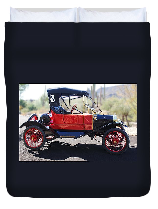 Horseless Carriage Duvet Cover featuring the photograph 1911 Ford Model T Torpedo by Jill Reger