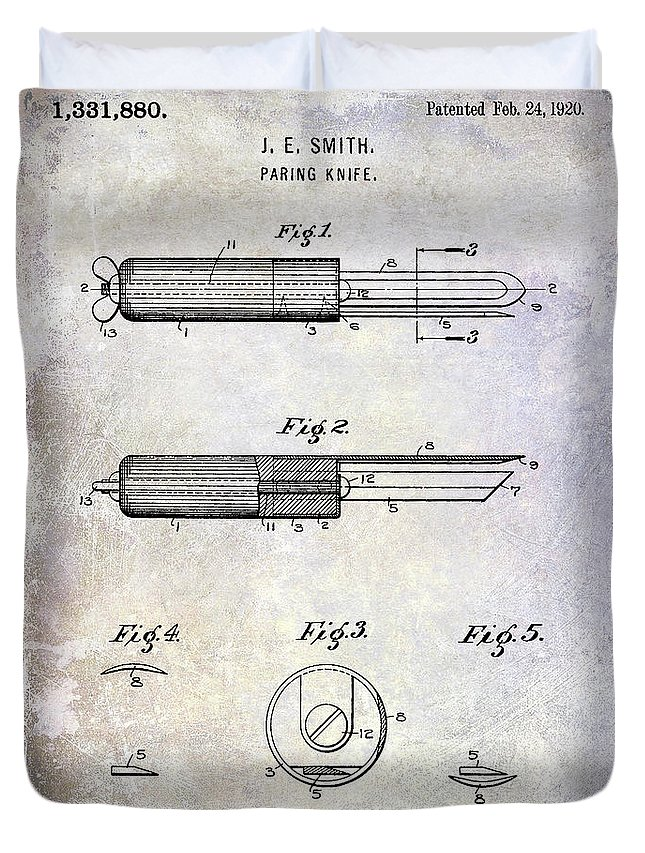 Paring Knife Duvet Cover featuring the photograph 1920 Paring Knife Patent by Jon Neidert