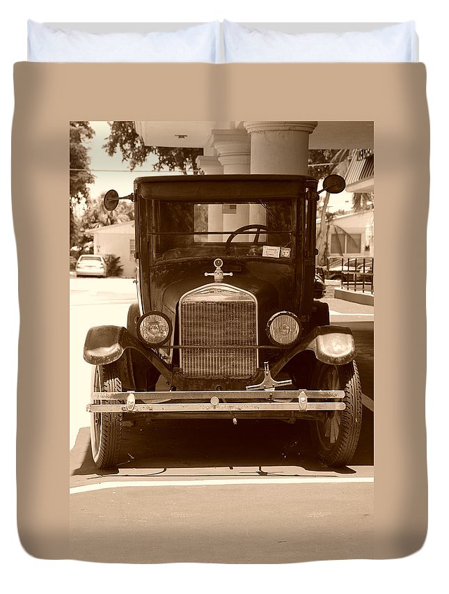 Sepia Duvet Cover featuring the photograph 1926 Model T by Rob Hans