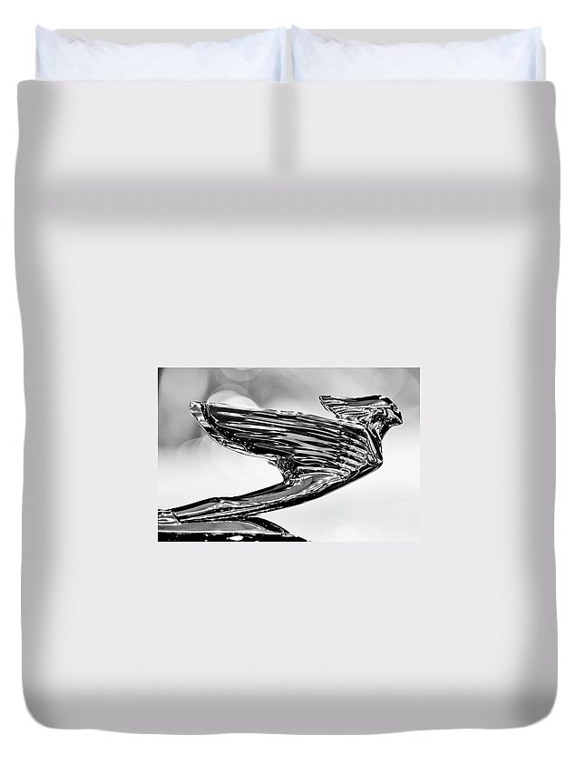 1938 Cadillac V16 Duvet Cover featuring the photograph 1938 Cadillac V-16 Hood Ornament 2 by Jill Reger