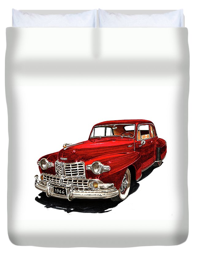 Framed Prints Of Lincoln Continentals. Framed Canvas Prints Of Art Of Famous Lincoln Cars. Framed Prints Of Lincoln Car Art. Framed Canvas Prints Of Great American Classic Cars Duvet Cover featuring the painting 1946 Lincoln Continental Mk I by Jack Pumphrey
