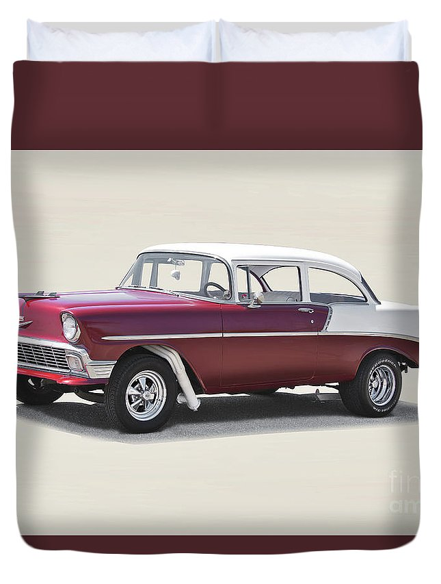 Auto Duvet Cover featuring the photograph 1956 Chevrolet 210 Coupe 'gasser Style' by Dave Koontz