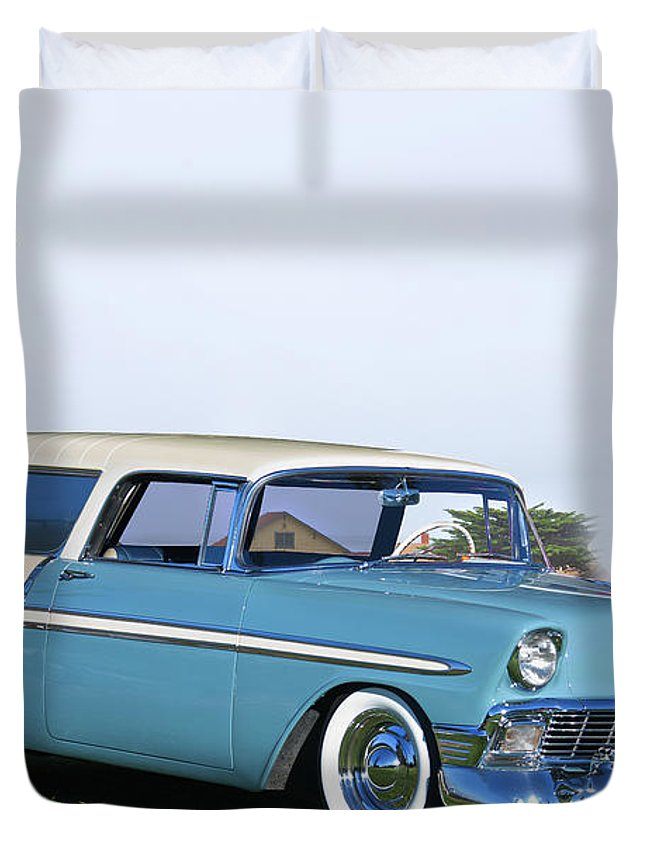 Automobile Duvet Cover featuring the photograph 1956 Chevrolet Bel Air Nomad Wagon by Dave Koontz