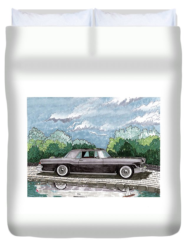 Framed Prints Of Lincoln Continentals. Framed Canvas Prints Of Art Of Famous Lincoln Cars. Framed Prints Of Lincoln Car Art. Framed Canvas Prints Of Great American Classic Cars Duvet Cover featuring the painting 1956 Lincoln Continental Mk II by Jack Pumphrey