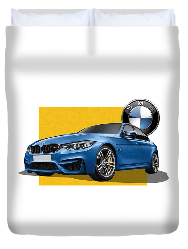�bmw� Collection By Serge Averbukh Duvet Cover featuring the photograph 2016 B M W M 3 Sedan With 3 D Badge by Serge Averbukh