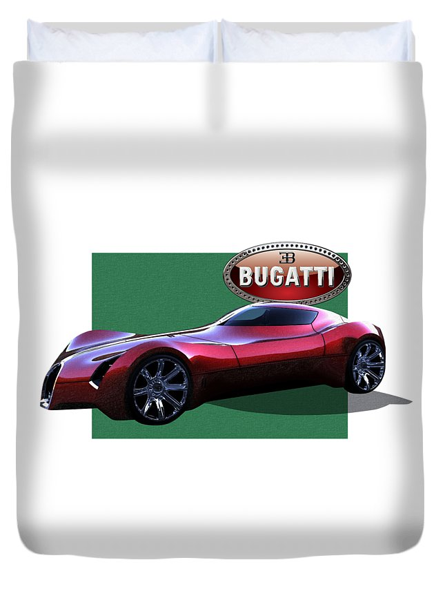 �bugatti� By Serge Averbukh Duvet Cover featuring the photograph 2025 Bugatti Aerolithe Concept with 3 D Badge by Serge Averbukh